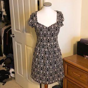 Beautiful Anthro Jacquard Black and Tan dress